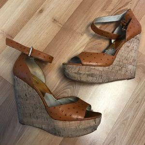 Michael kors tan ostrich faux leather wedge sandal